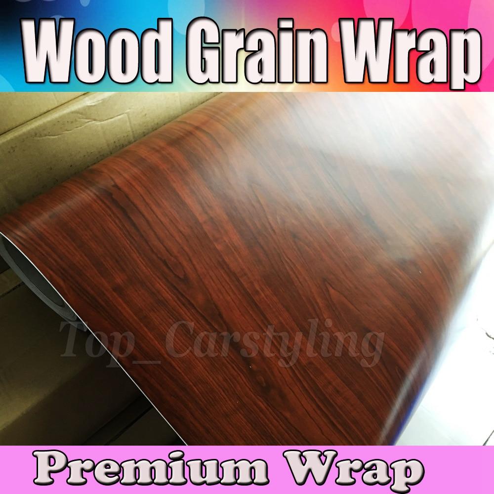 Feuille de vinyle texturé à Grain de bois brun foncé pellicule Film de style de voiture Grain de bois de teck avec bulle d'air taille libre 1.52x20 m/Roll