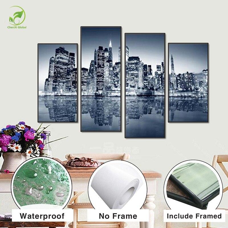 Moderne 4 stücke Modulare Poster Bord Gerahmte Leinwand Ölgemälde New York Manhattan...