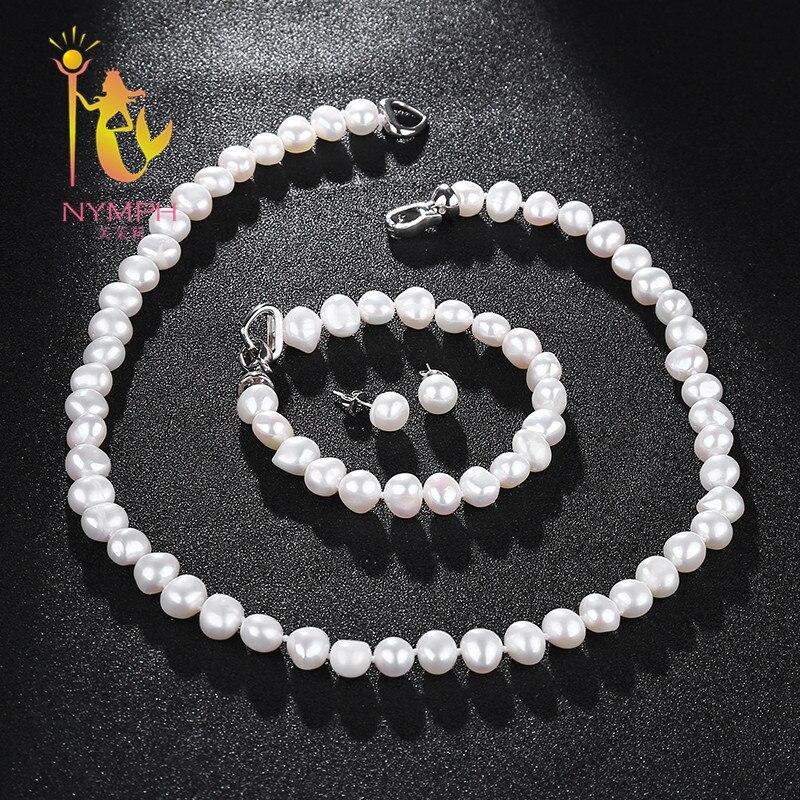 [NYMPH] Süßwasser-perlen Schmuck-Set Für Frauen Natur Barocke Weißen Stein Perlen Halsband Halskette Ohrringe Armband Party [T207]