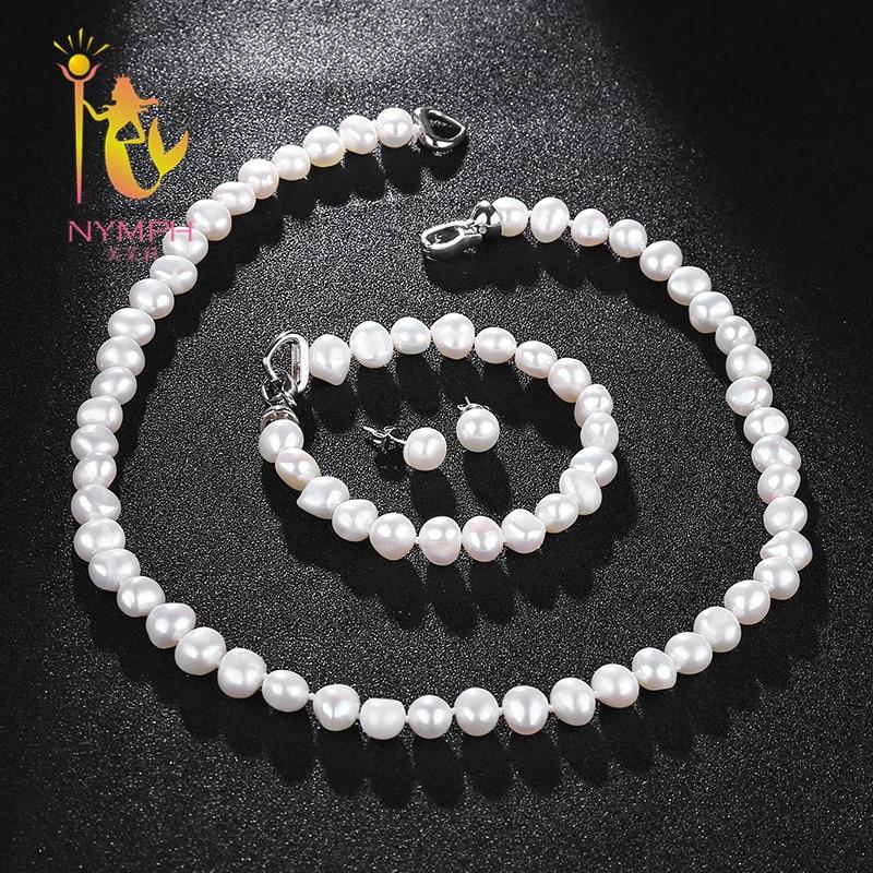 NYMPH Süßwasser Perle Schmuck Set Für Frauen Natürliche Barock Weiß Stein Perlen Halsband Halskette Ohrringe Armband Party [T207]