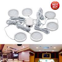 white car 6pcs 12V 2.5W LED Down Light Cabin Ceiling Lamp Caravan Camper Car RV Cool White Light 6500K (1)