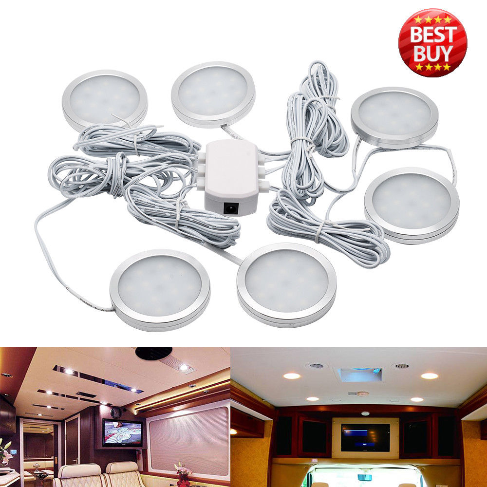 6pcs 12V LED Down Light Cabin Ceiling Lamp Caravan Camper Car RV Cool White Light 6500K