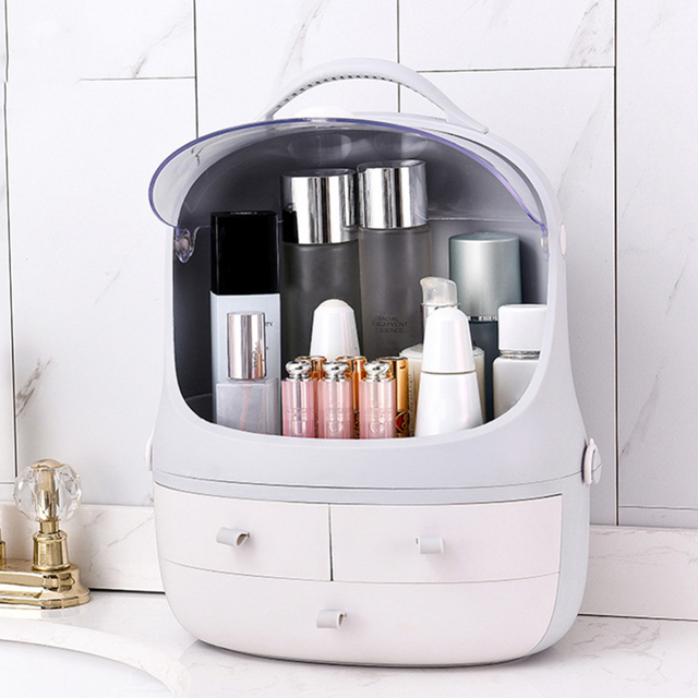 Japanese-style Large Capacity Cosmetics Storage Box Makeup Jewelry Skin Care Product Storage Organizer with Dust Cover J11 2