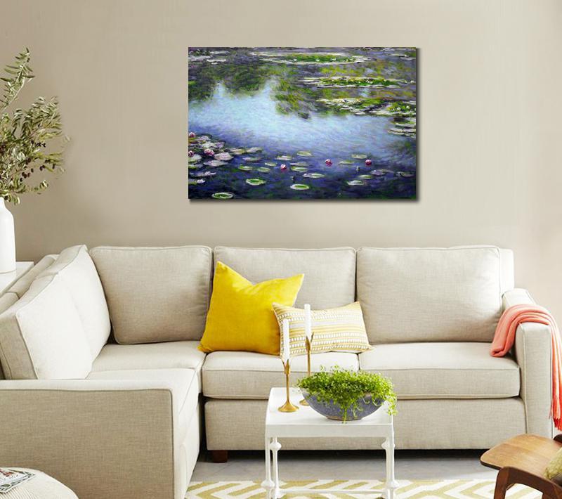 Alta calidad Claude Monet lirios de agua aceite sobre lienzo pintado ...