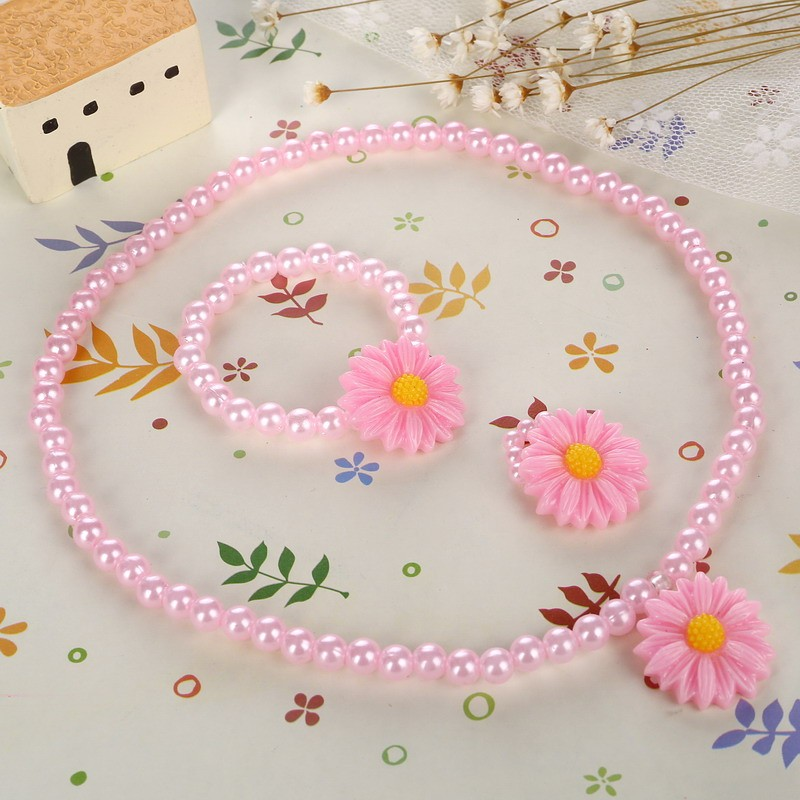 Friendly Resin Infant Nice Baby Flower Necklace Bracelet Finger Ring Set Kids Jewelry Set Children Accessories Handmade 3