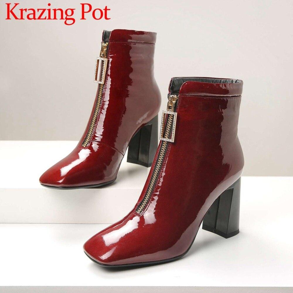 Большой размер классические ботинки челси кристаллы передняя молния толстый Обувь на высоком каблуке ретро красоты женщина коровы из лаки...