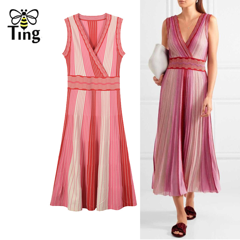Tingfly Runway Designer V neck Knitted Dress Women Sexy Striped Knit Sweater midi long Dress Elegant Pleated party Dresses fall