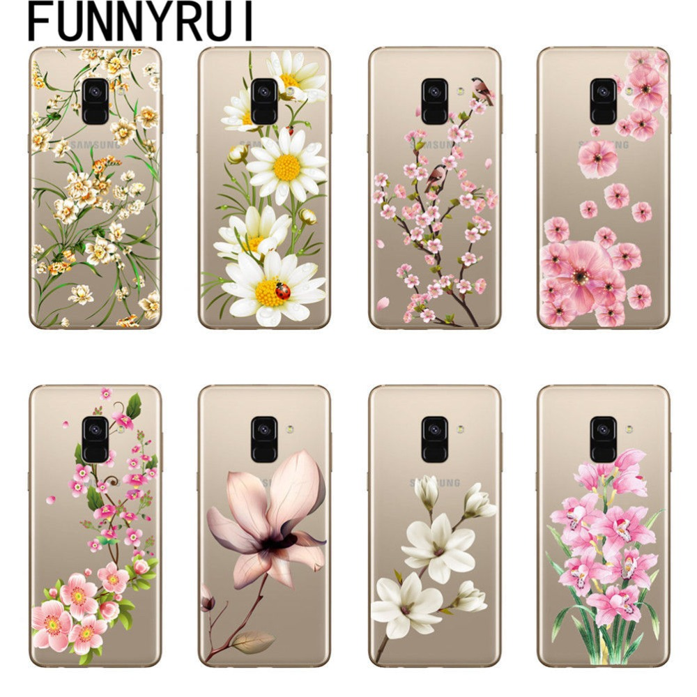 Sexy Floral Muster Weichen TPU Silicon Telefon Fall Abdeckung Für <font><b>Samsung</b></font> Galaxy A5 J3 J5 <font><b>J7</b></font> 2016 2017 A6 A8 j4 J6 <font><b>2018</b></font> Blume <font><b>Coque</b></font> image