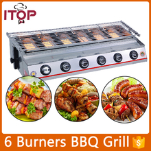 Stainless Steel 6 burners Gas BBQ Grill Barbecue Outdoor Picnic Baking Smokeless Garden Adjustable Height