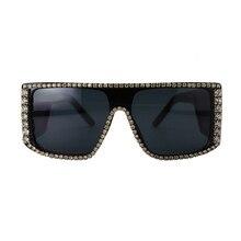 Rhinestone Bling Square Oversized Women Sunglasses Big Frame New Fashion 2019 Brand Designer Shades