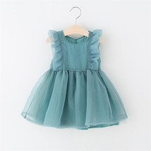 Newborn Baby Girl Dress Girl Birthday Baptism Wedding Party Tutu Dress White Green Summer Organza Sleeveless Princess Dresses