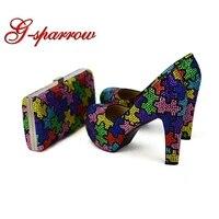 Ручной Многоцветный на не сужающемся книзу массивном каблуке Свадебная обувь для невесты с муфтой мастер Для женщин Модельные туфли для ве
