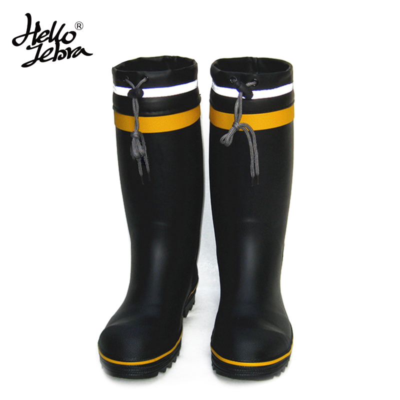 HELLOZEBRA Men Rain Boots Male Steel Toe And Steel Outsole Water Shoes Rubber Reflective Strip Safety Welly Thicken Work Boots