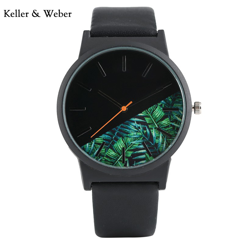 KW 2018 Men Wrist Watch Flower Natural Dial Unique Design Quartz Analog Casual Military Sport Watch with Leather Strap Best Gift