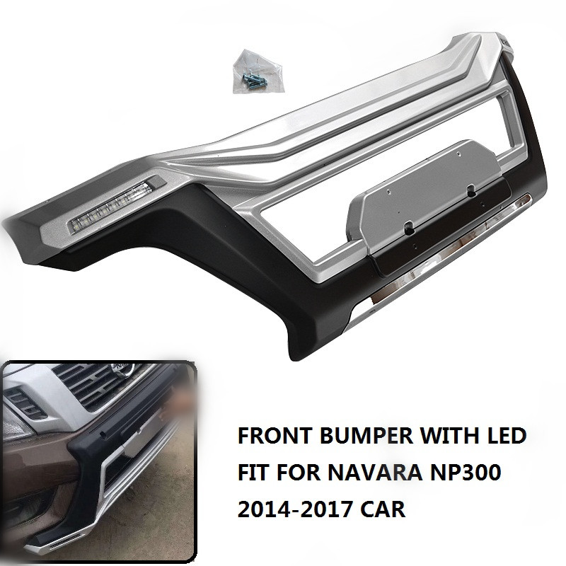 CITYCARAUTO FRONT PROTECTIVE FRAMES ABS FRONT BUMPER COVER RAPITOR BUMPER WITH LED FIT FOR NISSAN NAVARA NP300 D23 2014-2017 CAR protective abs bumper frame for samsung i8750 transparent