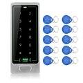 O Envio gratuito de Toque de Metal teclado de Controle de Acesso Porta Leitor De Cartão RFID Sistema de Controle de Bloqueio de Acesso C10 Modelo de Prata + 10 Keyfobs