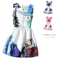 2017 Estilo Del Verano Vestidos Para Niña de La Mariposa Impresa Flor Sin Mangas de La Muchacha Formal Vestidos Adolescentes Vestido De Fiesta Envío Gratis