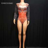 Shining Crystals Red Bodysuit Sparkly Black Tassel Stage Dance Performance Outfit Nightclub Party Birthday Wear Show Clothes