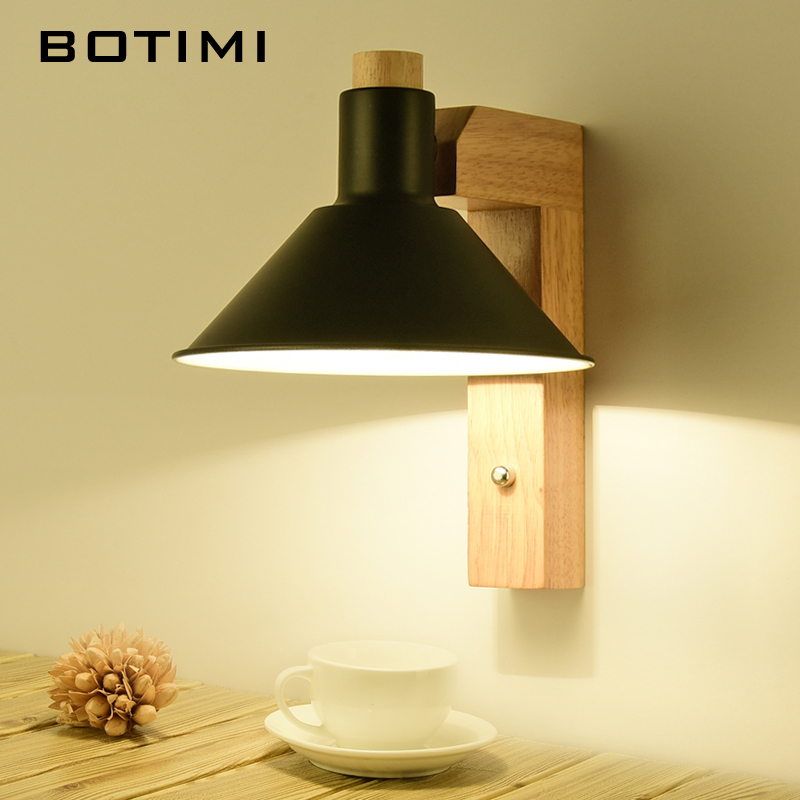 BOTIMI LED Wall Lamp For Bedroom Reading Wall Sconce Modern Beside Lamps Wall Mounted Rooms Adjustable Wooden Lighting Fixtures lamps wall lamp led lamps handicraft southeast asia amorous feelings vintage wooden bergamot wall lamp sconce home lighting