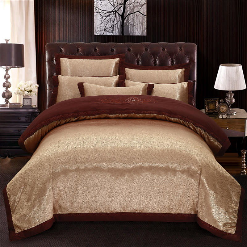 Luxury Coffee Satin Bedding Sets Duvet