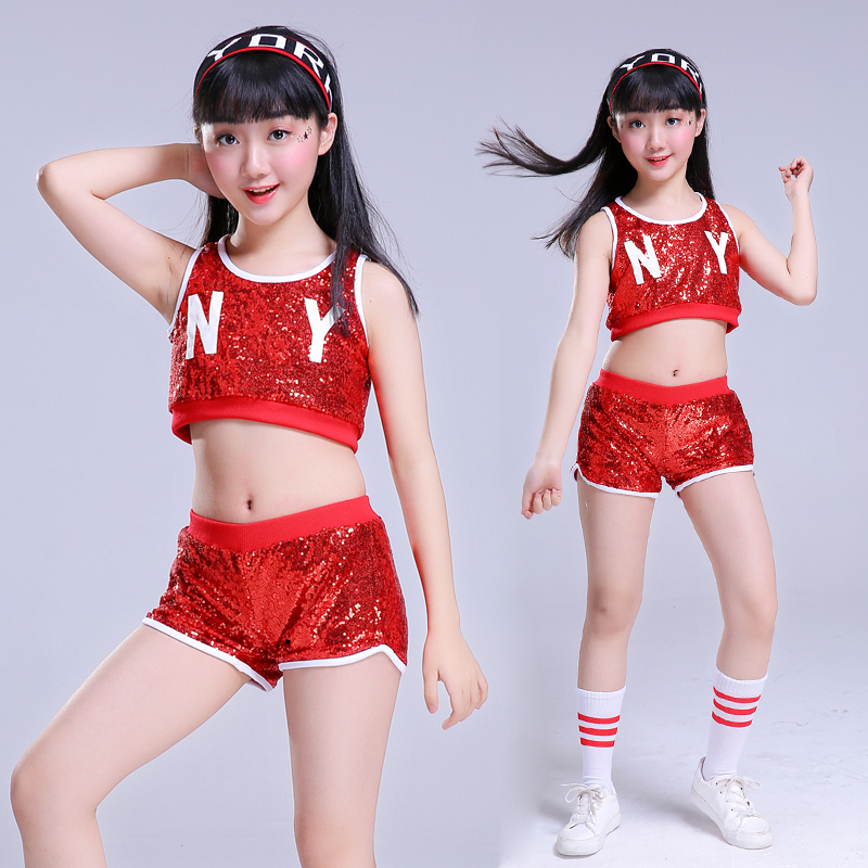 modern Hip hop jazz dance costumes for girls Sequin Tops shorts clothes  contemporary dance wear kids cheerleader costume girs on Aliexpress.com  27ad238330b