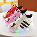 2017 Children girl casual Fashion hello kitty shoes Kids Girls Shoes  PU Shoes with LED Lighted 3colors Shoes 21-30