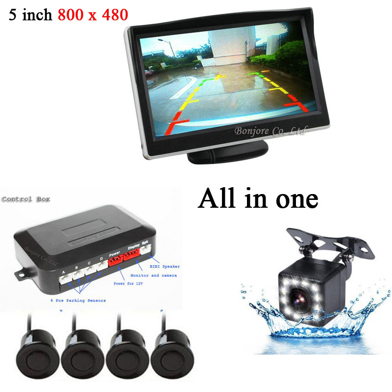 4 Parking Sensors 7 Colors Car Auto Reverse 12 LED CCD Rear view camera Backup Park Radar Alarm 5 inch Monitor System All in one