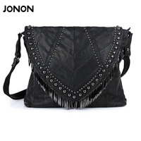 All Match Genuine Leather Women Handbags Designer Tassel Female Shoulder Bags Rivet Bag Woman Crossbody Bag