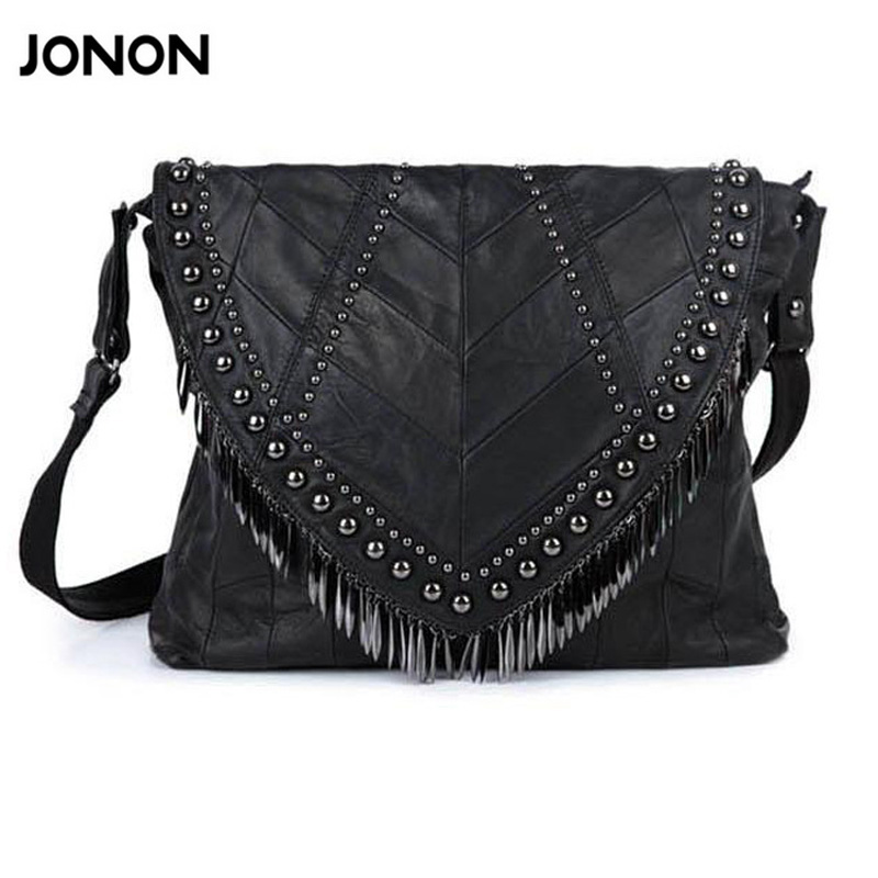 All-match Genuine Leather Women Handbags Designer Tassel Female Shoulder Bags Rivet Bag Woman Crossbody Bag Studs  Ladies all match genuine leather women handbags designer tassel female shoulder bags rivet bag woman crossbody bag studs ladies