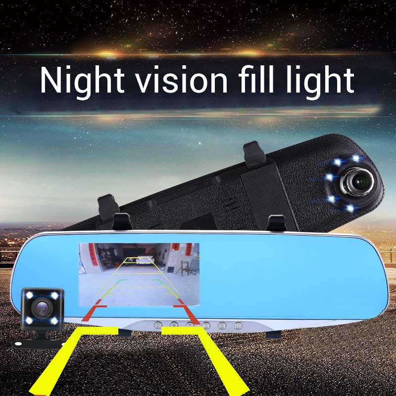 2018 Auto Parts Rearview Mirror Night Vision Dual Lens with 4.3 Car Camera DVR Dash Cam 1080P Full HD Car-detector Video Cyclic