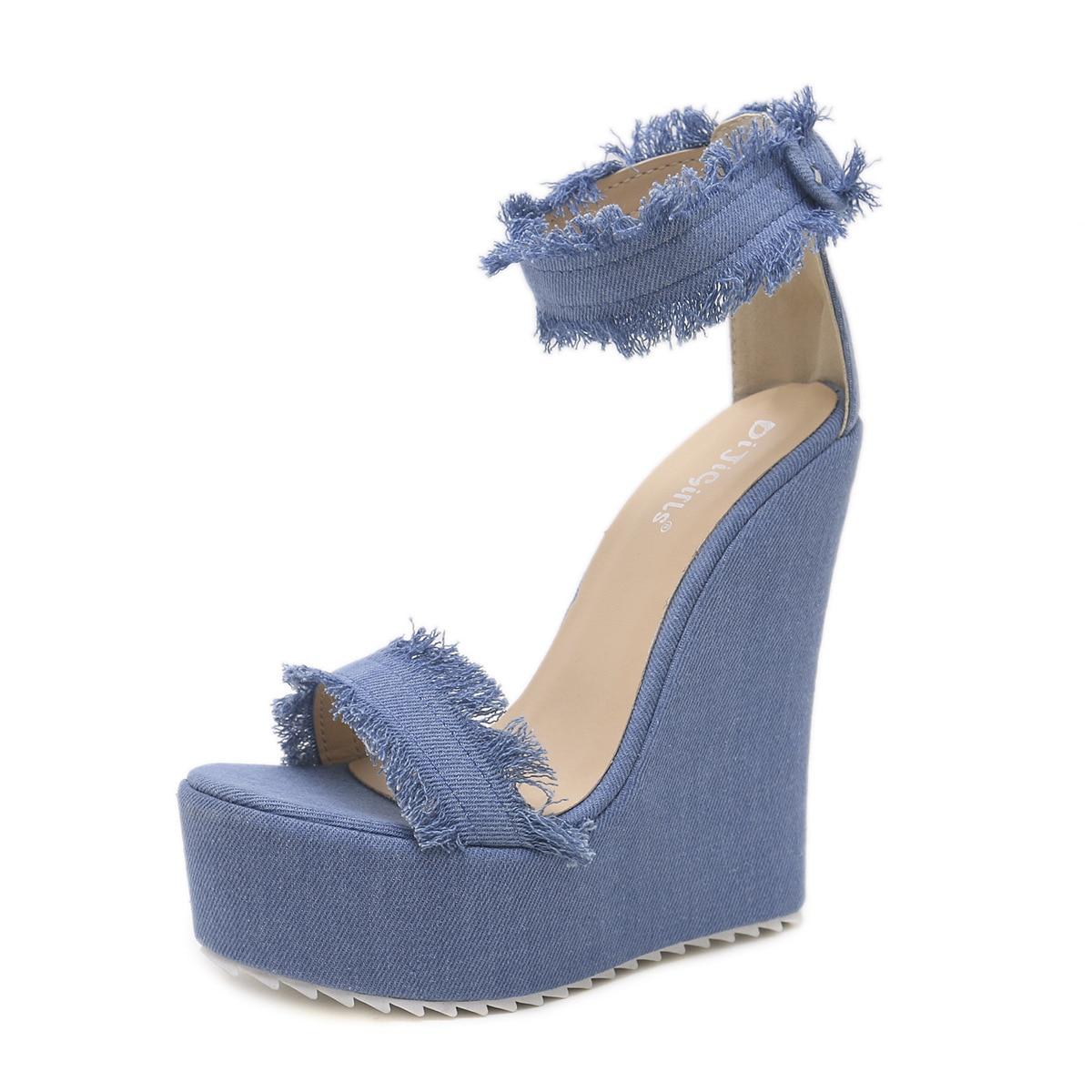 Hauts Patché Bleu Côté Denim Talons Sandales Cales Dames D'été Boucles En Brun Chaude Chaussures Cristal À Cuir Femmes Glitter wWFZ4