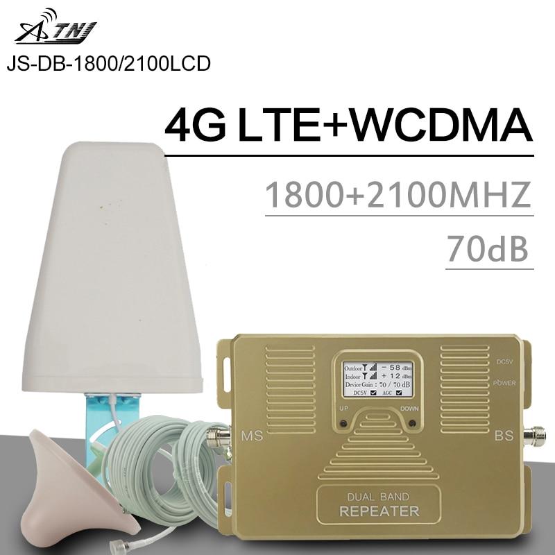 Répéteur de Signal intelligent 4G double bande GSM LTE 1800 WCDMA 2100 MHz amplificateur de Signal cellulaire 70dB écran LCD 2G 3G 4G LTE