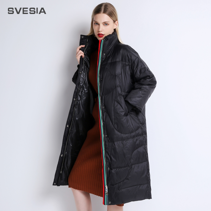 SVESIA   Down   Jacket For Women Winter 2018 Plus Size Abrigos Mujer Invierno Befree Outerewear   Coat   Light   Down   Parkas For Women Cap