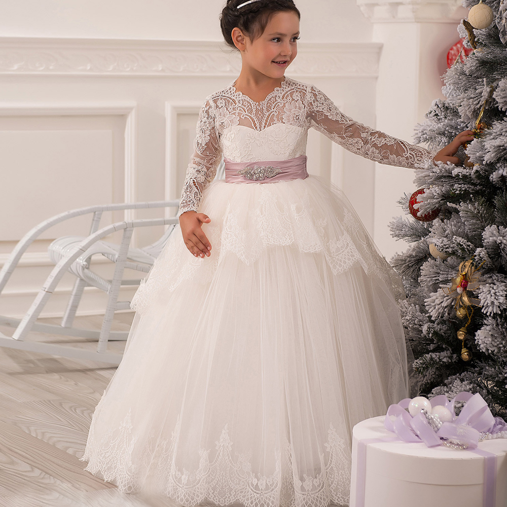 Glitz Vestidos de Communion Applique Crystal Open Back Long Lace Sleeves Bow Ruffles Little Princess Christmas Tulle Ball Gown black sequins embellished open back lace up top
