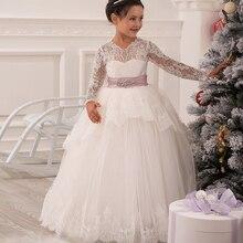 Glitz Robes de Communion Applique Cristal Dos Ouvert Longue Dentelle Manches Volants Arc Petite Princesse De Noël Tulle robe de Bal