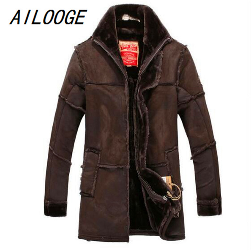 European Style Male Fashion Thick Warm Outwear Winter Mens Faux Fur Coat Spliced Suede Leather Jacket Parkas Fast Shipping