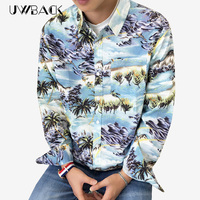 Uwback 2016 New Brand Summer Hawaiian Shirt Men Long Sleeve Camisa Men Shirt Beach Plus Size