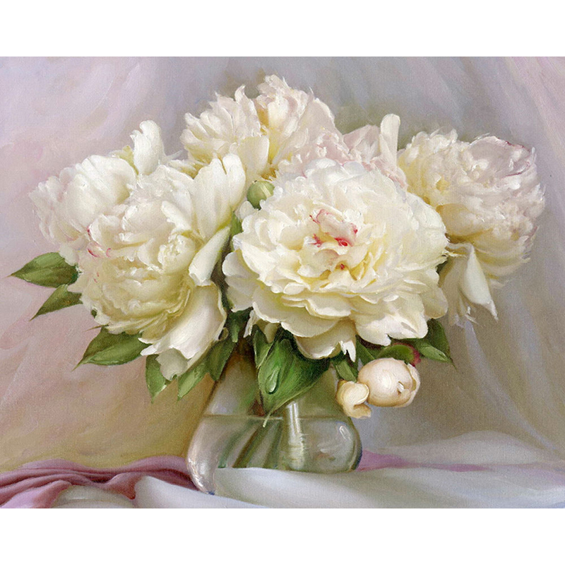 Bouquet Peonies in Vase Flowers Canvas Picture Oil DIY Paint Set by Numbers Kits