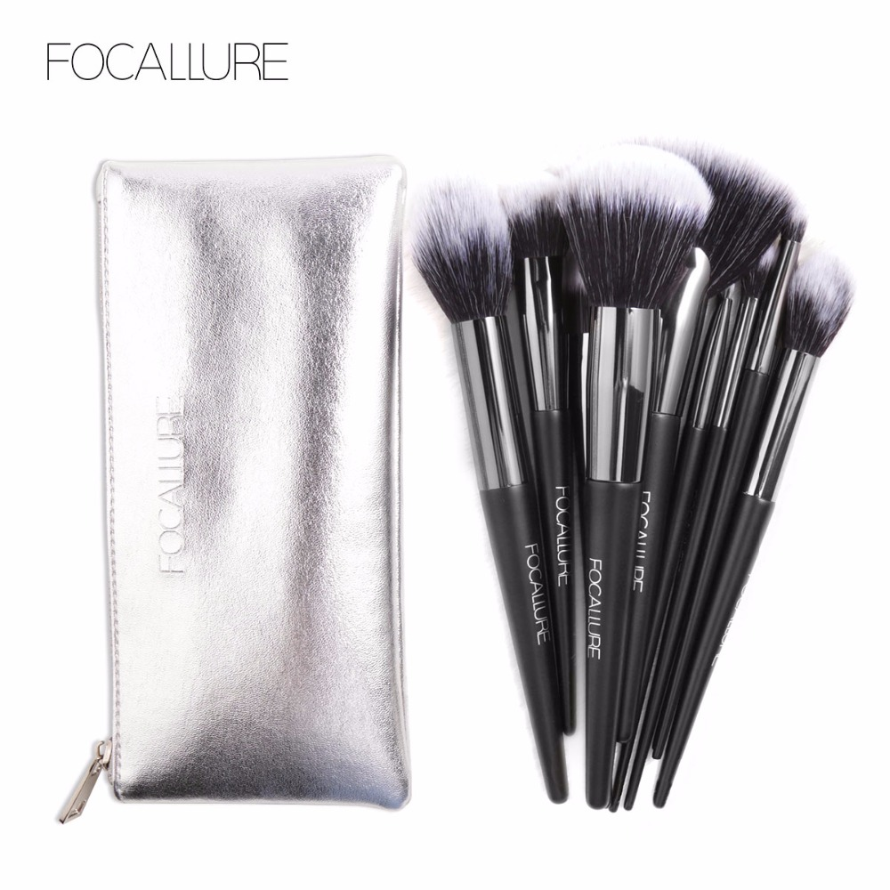 Focallure 10pcs Face Foundation Tools Makeup Brushes with Leather Bag Professional Eyeshadow Eyeliner Tool Make up Kit