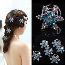 5pcs/lot Snow Spiral Hair Clip Ornament Crystal Flower Hair Pins Swirl Snowflake Hairpin Wedding Hairpin Bridal Tiaras Jewelry