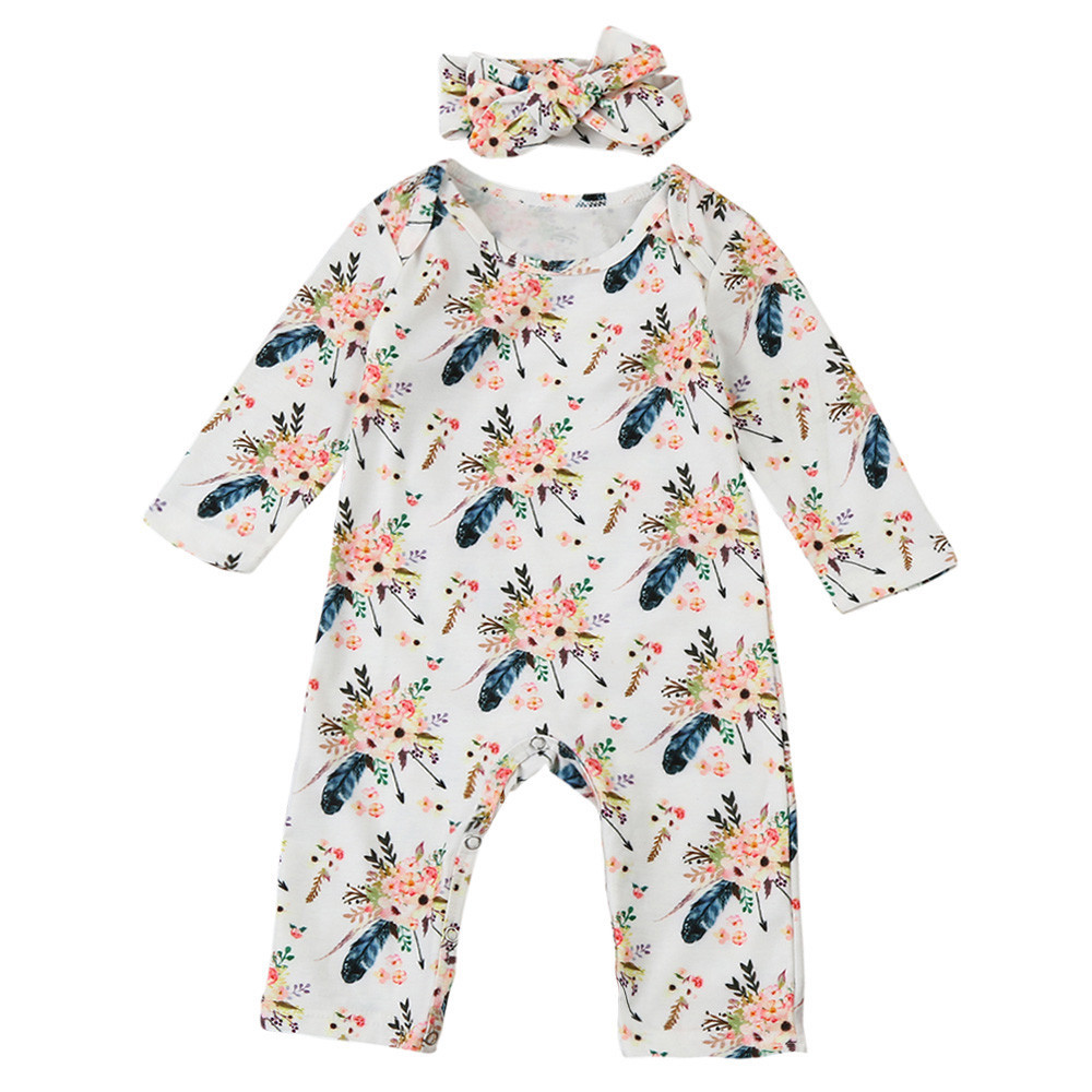 Newborn Infant Baby Boy Girl Floral Romper Jumpsuit Headband Clothes Outfit Set Sep 26