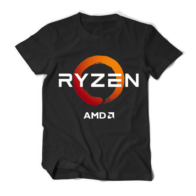 PC CP CPU Uprocessor AMD RYZEN Short Sleeve Black Mens T Shirts Short Sleeve Leisure Fashion Summer