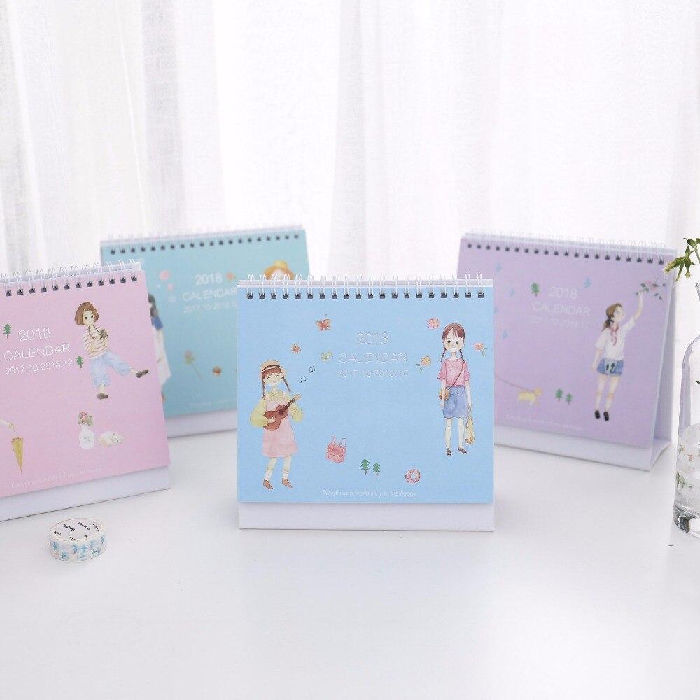 New 2018 Beautiful Girl Series Calendars Mini Table Calendars Lovely girl desk planner calendar  2017,10~2018,12