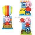 Loz blocos de construção bonito balão & ciclo & banho mini adorável pig figuras modelo brinquedos diy brinquedos bricks juguetes para com idades entre 6 +