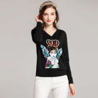 high quality Newest Designer fashion runway sweater Women's Long Sleeve Angel Sequins Embroidered Vintage Knit Sweater