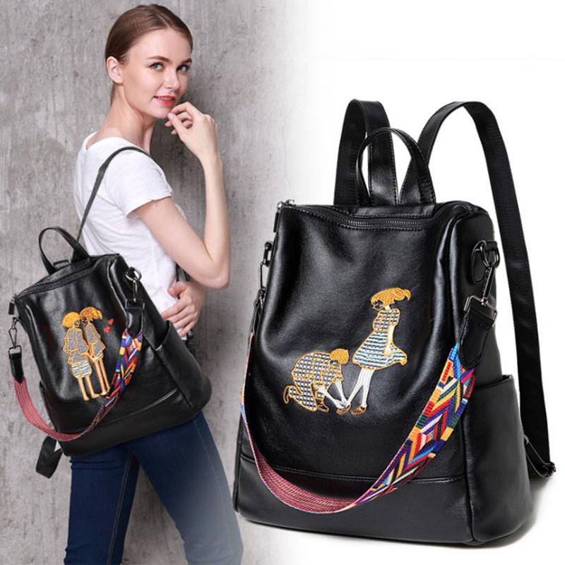 100 Real Sheepskin Genuine Leather Women Backpack Woman Embroidery Style Ladies Backpack Girl School Bag Shoulder