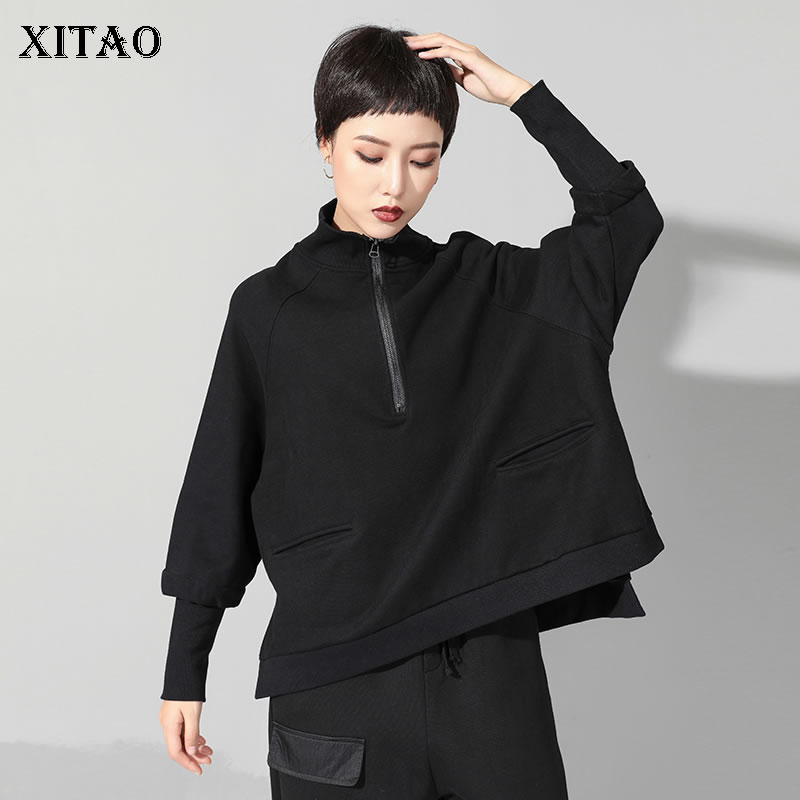 [XITAO] Irregular Fashion Women 2019 Spring Summer Stand Collar Full Sleeve T shirt Female Pocket Solid Color Casual Tee WBB1388-in T-Shirts from Women's Clothing    1