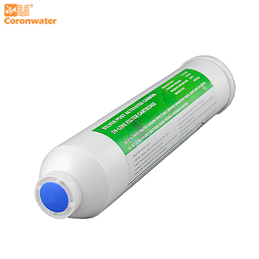Coronwater Silver impregnated Coconut Activated Carbon Post Inline GAC Water Filter Cartridge ICS-101