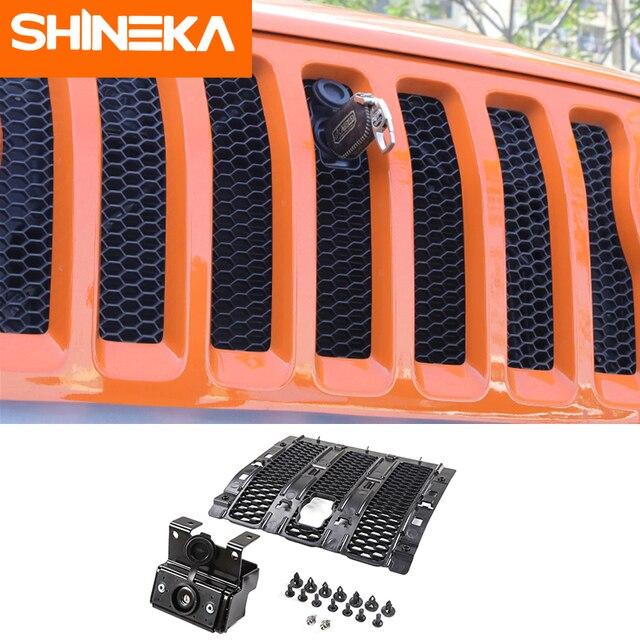 SHINEKA Kit de captura capucha de bloqueo inteligente, parrillas de carreras, conjunto de seguridad antirrobo, conjunto de bloqueo 2018 para Jeep Wrangler jl, accesorios