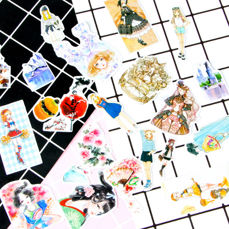 1X Mobile phone cartoon stickers package decoration Stickers Diary Decoration Scrapbooking diy seal Sticker Stationery in Stationery Stickers from Office School Supplies